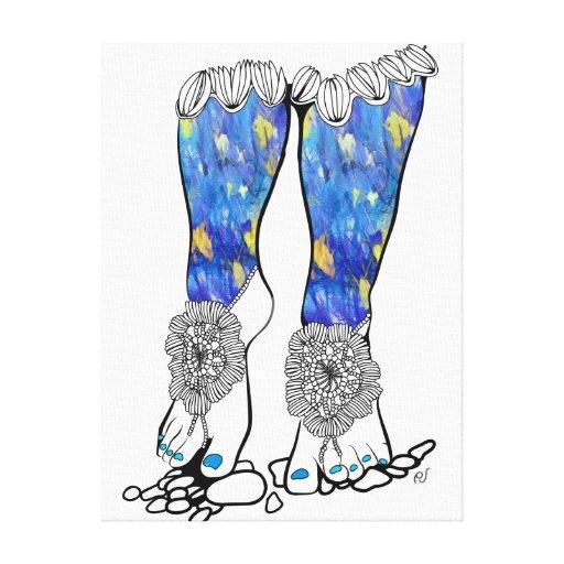 Las sandalias del ganchillo impresión en lona estirada