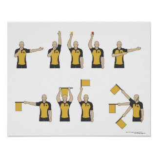 Las señales de los árbitros del fútbol póster