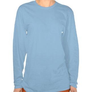 Las señoras guardan la vespa tranquila en (azul) camiseta