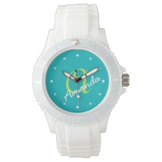 Las señoras personalizaron el monograma deportivo relojes de pulsera