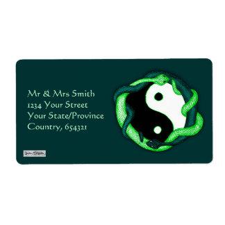 Las serpientes se doblan (el verde) etiquetas de envío