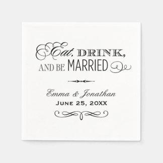 Las servilletas del boda el comen la bebida y se
