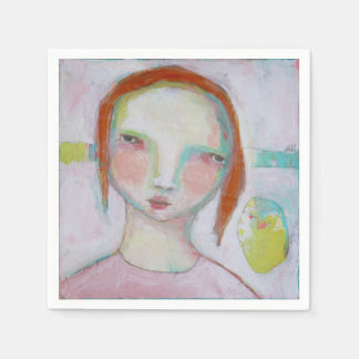 Las servilletas del cóctel del papel del chica servilleta de papel