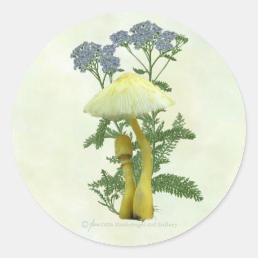 Las setas amarillas con el azul minúsculo florecen pegatina redonda