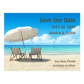 Las sillas de playa ahorran la tarjeta de fecha postales