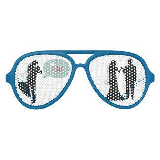 Las siluetas de novia y del novio voy de fiesta lentes de fiesta