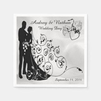 Las siluetas del día de boda del satén servilleta desechable