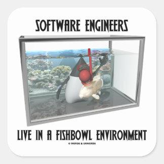 Las Software Engineers viven en un ambiente de Calcomanía Cuadradas Personalizada