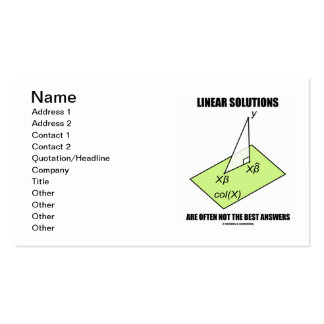Las soluciones lineares no son a menudo las mejore tarjeta personal