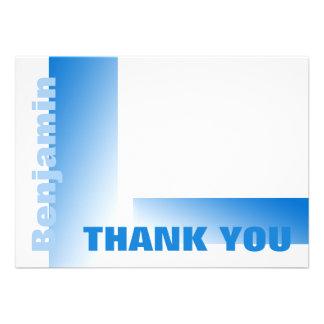 Las sombras de la tarjeta plana azul le agradecen anuncios