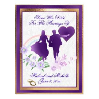 Las sombras del boda de la lavanda ahorran la post tarjeta postal
