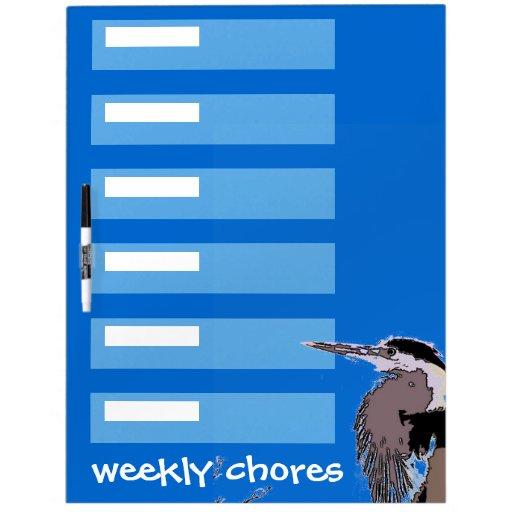 Las tareas semanales del pájaro de la garza secan pizarras blancas