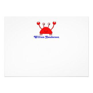 Las tarjetas de nota rojas del cangrejo \ le agrad invitación personalizada