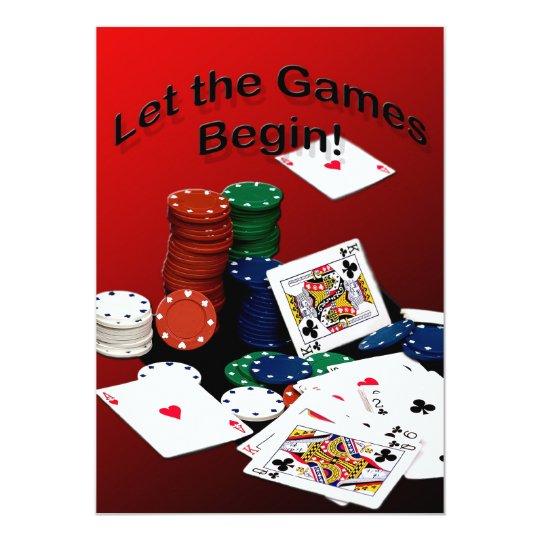 """Las tarjetas - deje los juegos comenzar (las invitación 5"""" x 7"""""""