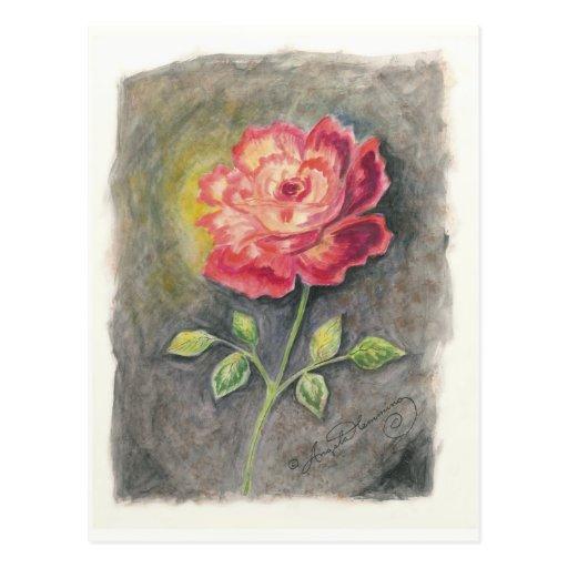 Las tarjetas del arte del rosa rojo y amarillo postales