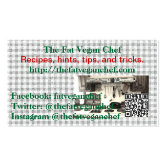 Las tarjetas del cocinero del vegano de la grasa plantillas de tarjetas de visita
