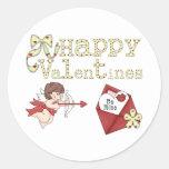 Las tarjetas del día de San Valentín felices sean Etiqueta Redonda