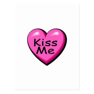 Las tarjetas del día de San Valentín me besan Postal