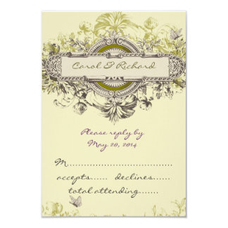 """Las tarjetas florales de RSVP del vintage para el Invitación 3.5"""" X 5"""""""