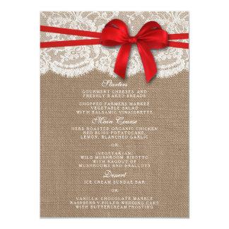 Las tarjetas rojas rústicas del menú de la invitación 11,4 x 15,8 cm