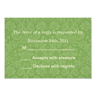 """Las tarjetas verdes de RSVP del fondo del modelo Invitación 3.5"""" X 5"""""""