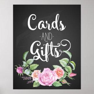 las tarjetas y el boda floral de los regalos pican póster