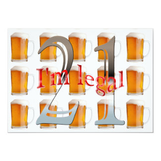 """Las tazas de cerveza soy 21ra fiesta de cumpleaños invitación 5"""" x 7"""""""