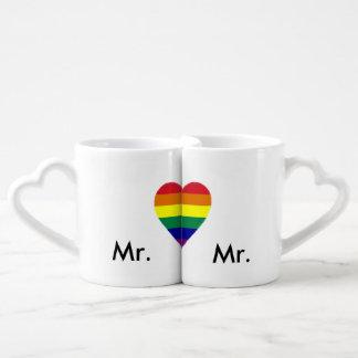 Las tazas del amante de la boda del orgullo gay taza amorosa