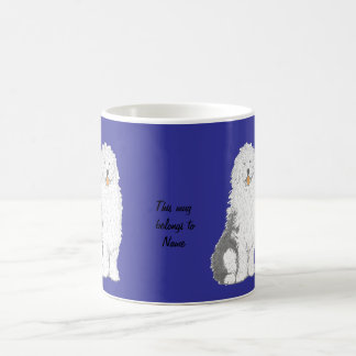 Las tazas inglesas viejas del perro pastor, añaden