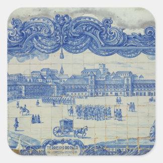 Las tejas de Azulejos que representan el Praca Pegatina Cuadrada