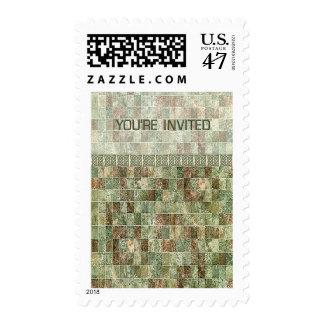 Las tejas de mosaico verdes silenciadas le invitan sello postal