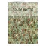 Las tejas de mosaico verdes silenciadas le invitan tarjeta de felicitación
