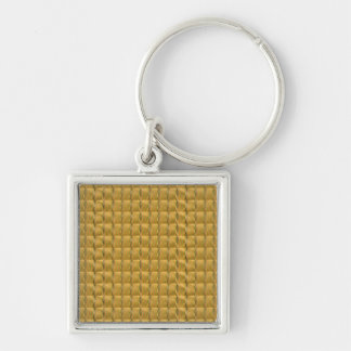 Las tejas de oro DIY del cristal de Goodluck Llavero Cuadrado Plateado