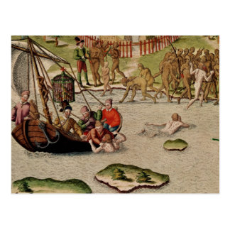 Las tierras del buque del francés postales