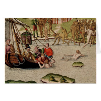Las tierras del buque del francés tarjeta de felicitación