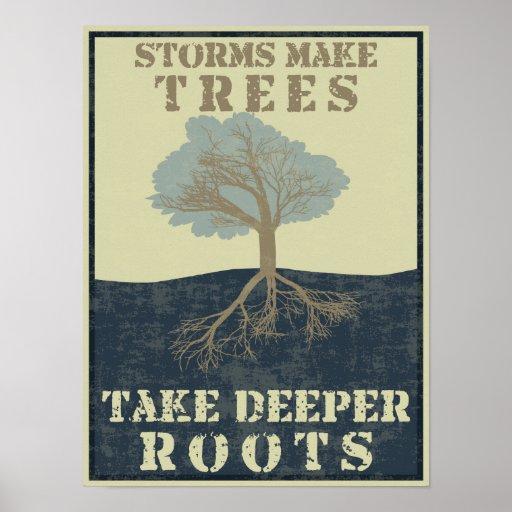 Las tormentas hacen que los árboles toman raíces m poster