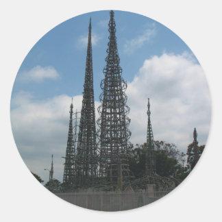 Las torres de los vatios pegatina redonda
