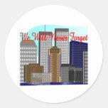 """Las torres gemelas """"nunca olvidaremos"""" NY Etiqueta Redonda"""