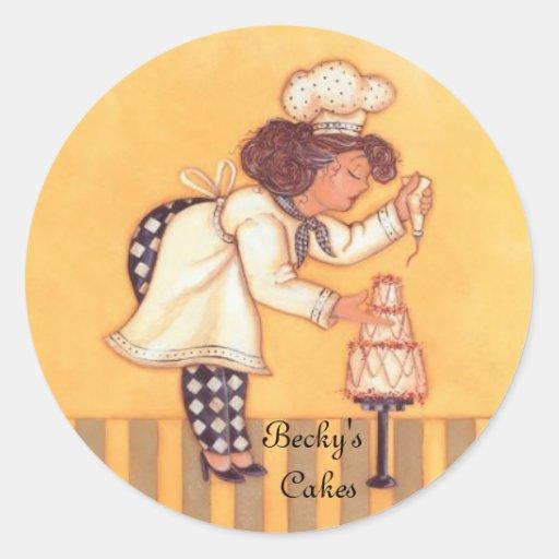 Las tortas de Becky Pegatina Redonda