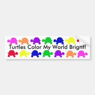¡Las tortugas colorean mi mundo brillante Pegatina De Parachoque