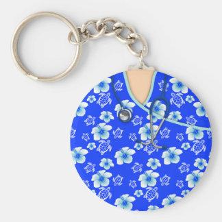 Las tortugas de las flores azules y blancas llavero redondo tipo pin