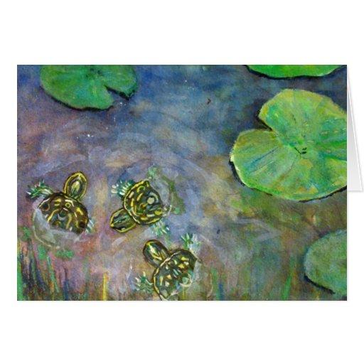 Las tortugas del bebé en el agua Lilly del arco ir Tarjeton