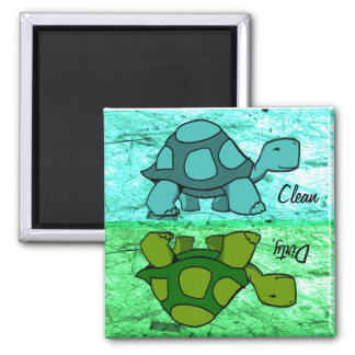 Las tortugas limpian sucio iman de frigorífico