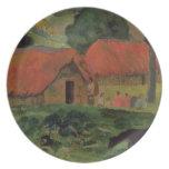 Las tres chozas, Tahití, 1891-92 (aceite en lona) Plato Para Fiesta