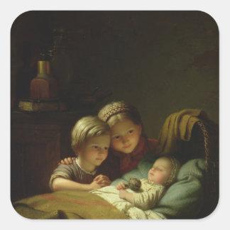 Las tres hermanas pegatina cuadradas