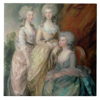 Las tres más viejas hijas de George III: Princesa Azulejo Cuadrado Grande