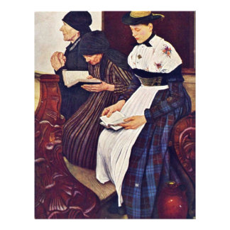 """Las tres mujeres en la iglesia de Leibl Wilhelm Folleto 8.5"""" X 11"""""""