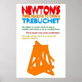 Las tres razones de Newton a propio un Trebuchet Póster