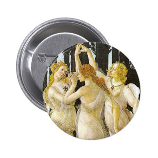 Las tres tolerancias de Sandro Botticelli Pin Redondo De 2 Pulgadas