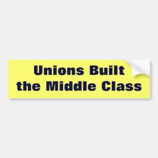 Las uniones construyeron la clase media pegatina de parachoque